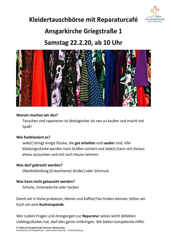 Ansgarkirche: Kleidertauschbörse mit Reparaturcafe