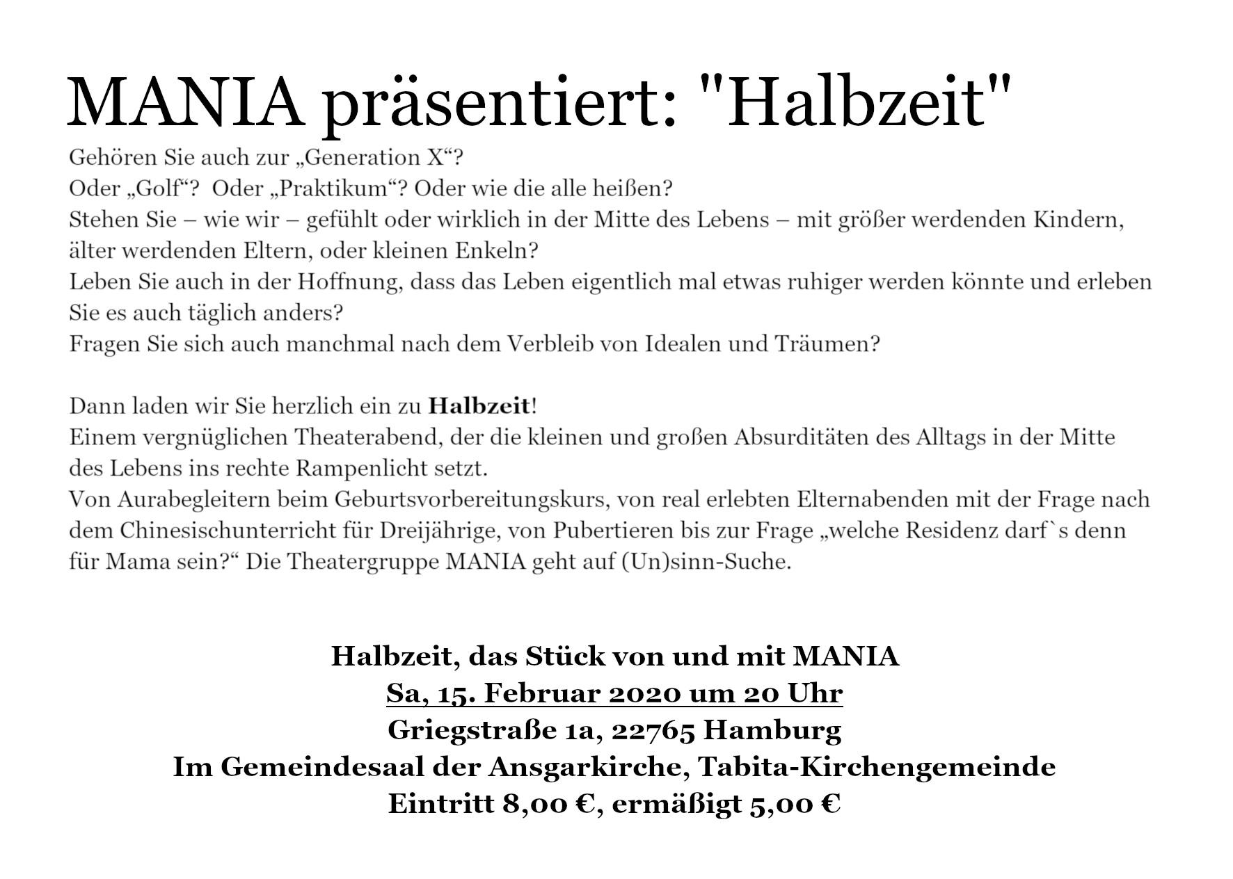 """Ansgarkirche: MANIA präsentiert: """"Halbzeit"""""""